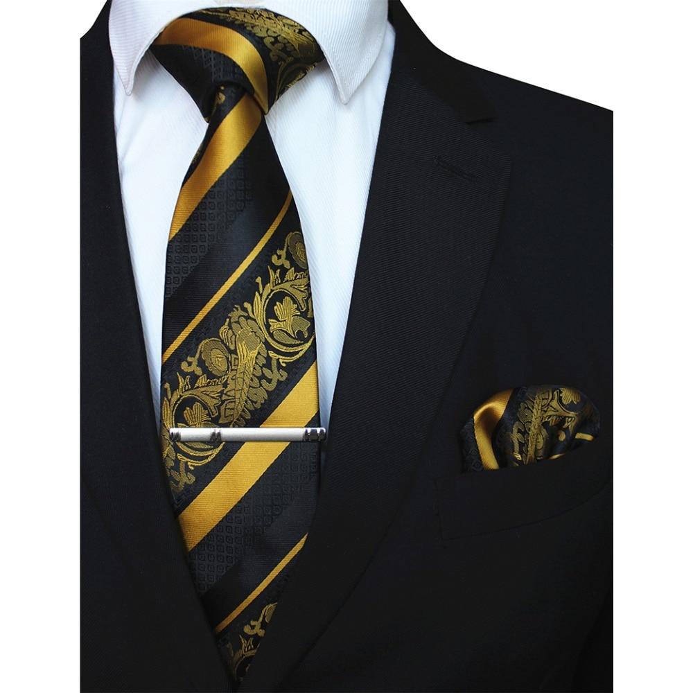 RBOCOTT 3PCS Men's Floral Tie Handkerchief Set Yellow Striped 8cm Necktie Pocket Square Tie Clip Red For Men Wedding Accessories