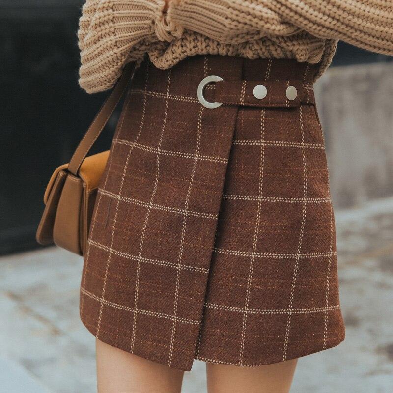 Women's Skirts Casual Ladies Kawaii Ulzzang Woolen Plaid Skirt Vintage Skirt Female Korean Vintage Button For Women Casual