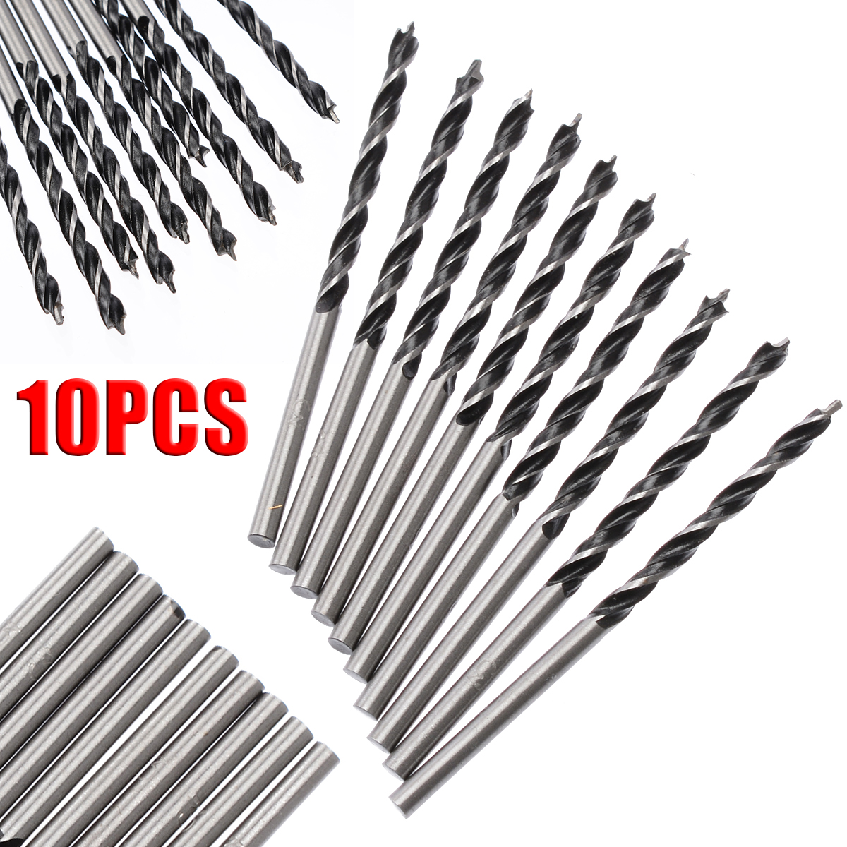 10pcs/Set 3mm Diam Twist Drill Bit 58mm Length Wood Spiral Drill Bits With Center Point High Strength Woodworking Drilling Tool