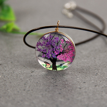 Romantic life  tree Glass ball pendant necklace,Dried flower plant specimen Handmade DIY child jewelry