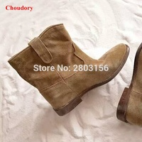 New Lady Fashion Woman Round Toe Suede Leather Motorcycle Ankle Boots Spring Autumn Hidden Heel Shoes