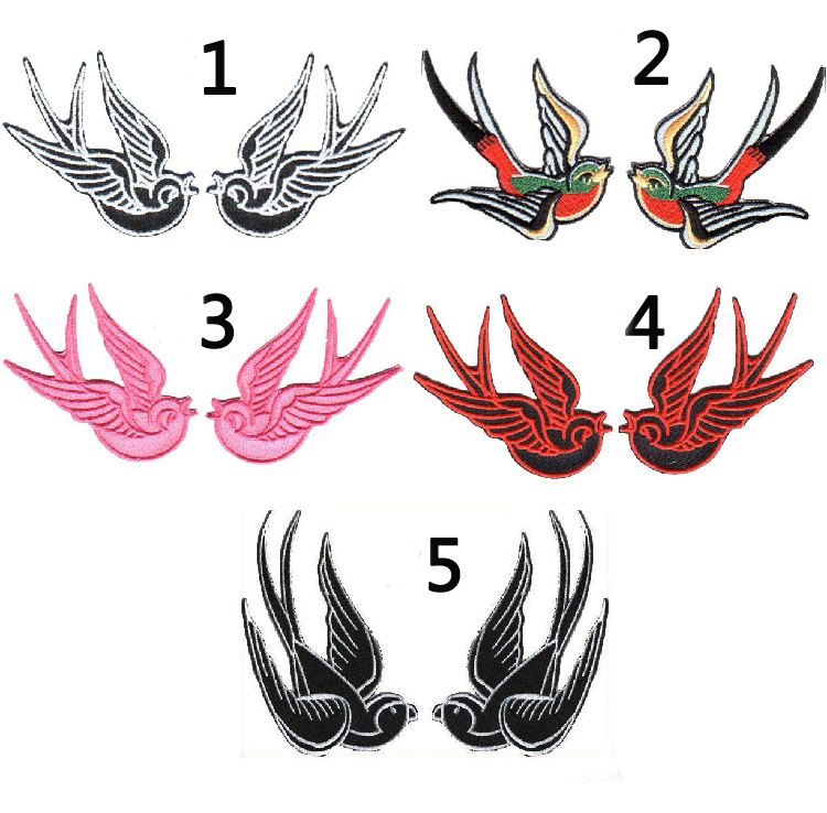 1 pair of Multicolor Swallow Embroidered Iron-On Patches For Clothes Garment Applique DIY Accessory