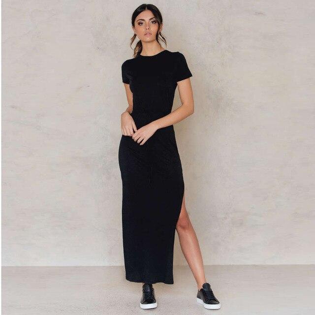 af797a4d57 Manga curta básica O pescoço side high slit vestido longo para mulheres  preto cinza tie cintura
