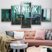 5 Piece Wall Art Paintings Metal Wolf Chaos XD Video Game Poster Wall Sticker Canvas Paintings GUNDAM HD Picture Game Poster wall art wolf howl print canvas paintings