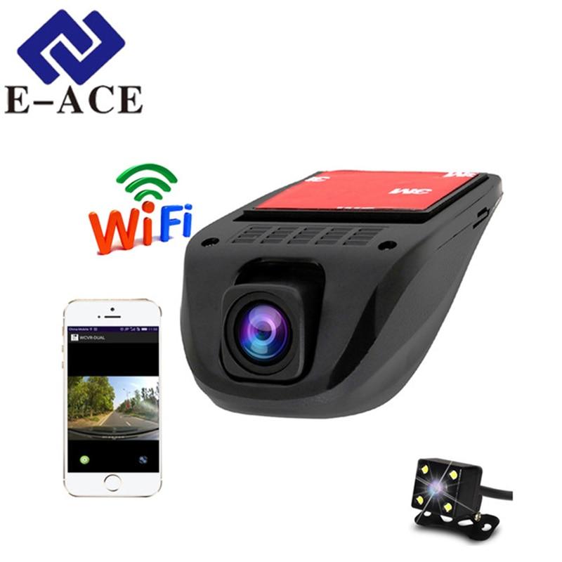 E-ACE Wifi Voiture Dvr Dash Cam Enregistreur Vidéo Caméscope Double Caméra Objectif Caché Mini Caméra Full HD 1080 p Auto reistrator Dvr