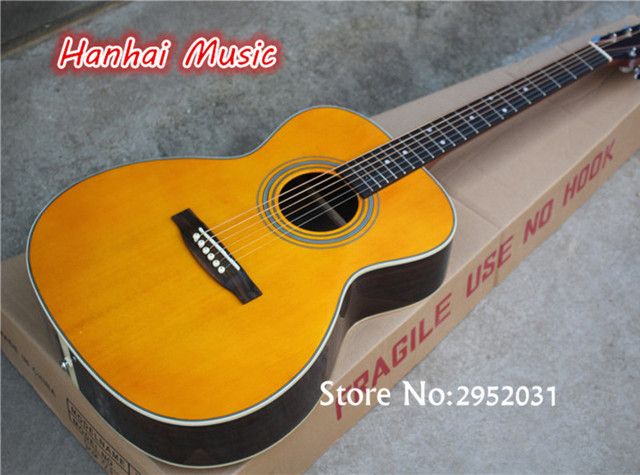 Hot Sale Custom 41 Inch Folk Acoustic Guitar,Yellow Color Spruce Solid Top,Rosewood Back and Side,Can be Customized