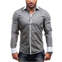 Men Shirt Brand 2017 Spring Male Long Sleeve Shirts Casual Hit Color Slim Fit Black Mens
