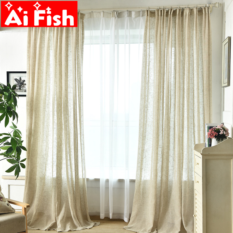 Cotton Linen Window Yarn Drapes White Solid Simple All-match Bedroom Curtains Fabrics Beige Hemp Sheer Customization M049#30