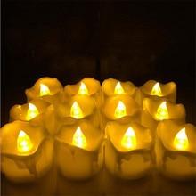 24 шт. желтые мерцающие свечи на батарейках/пластиковые электрические свечи/беспламенные чайные ОГНИ для рождества, Хэллоуина, свадебного украшения