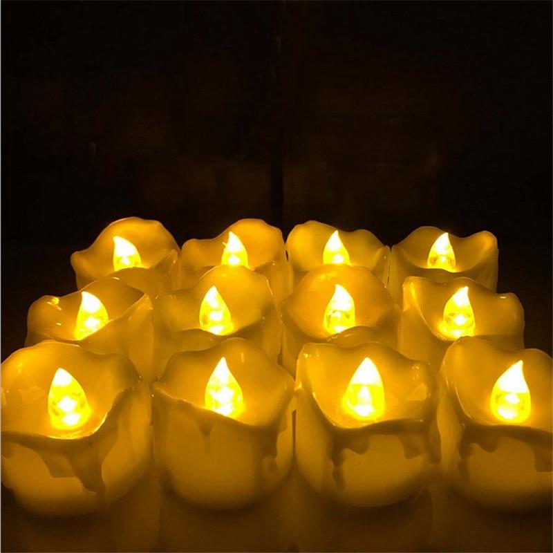 online shop 24pcs yellow flicker battery candles plastic electric candles flameless tea lights for christmas halloween wedding decoration aliexpress