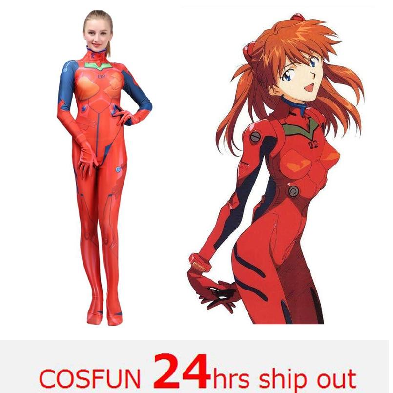 2019 New Kids Women Asuka Langley Soryu Cosplay Costumes Movies EVA1 Women Jumpsuits Bodysuits Halloween Costumes Movie unitard