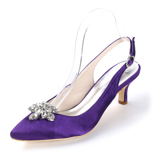 Creativesugar lady s satin evening dress shoes slingback pointed toe with crystal  brooch bridal wedding party prom heels 2 inch acd2c3badb56