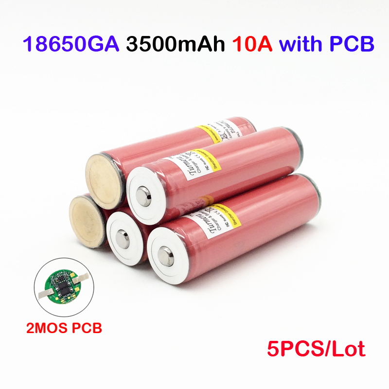 Ncr18650ga 3500 mah pour sanyo ncr18650ga protégé 3.6 V 10A Plat Piles Rechargeables 5 pièces NCR18650GA 3500 mAh avec PCB ma14