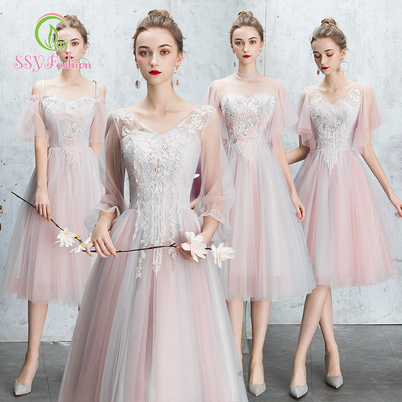 735849c911a8b SOCCI Weekend Pink Elegant Bridesmaid dress 2019 Half Flare Sleeves ...