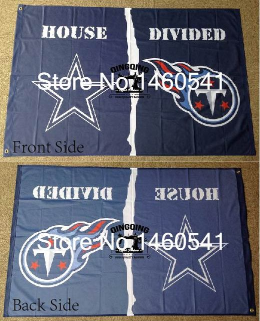Dallas Cowboys Tennessee Titans House Divided Flag 3ft X