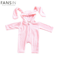 Fansin Brand Baby Long Ear Fleece Romper Autumn Winter Infant Cute Rabbit Warm Jumpsuit Girls Pink Hooded Clothes Costume Outfit