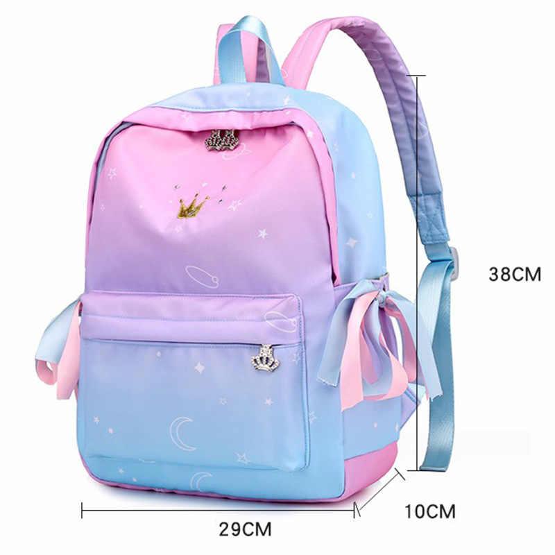 Kadın Sırt Çantaları Pembe Baskı Çocuk Sırt Çantası Okul Çantaları Kızlar Için Birincil okul sırt çantası Kitap Çantası okul çantası Bolsas Mochilas