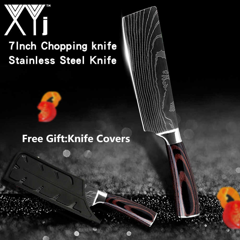 XYj Chef Knife Kitchen Knife Japanese Butcher Meat Cleaver Vegetable 7 inch German Stainless Steel Nakiri Cooking Cutter +Covers
