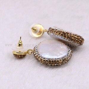 Image 4 - 5 pairs Natural pearl dangle earrings drop earrings golden color crystal druzy drop earrings  Gems jewelry 3318