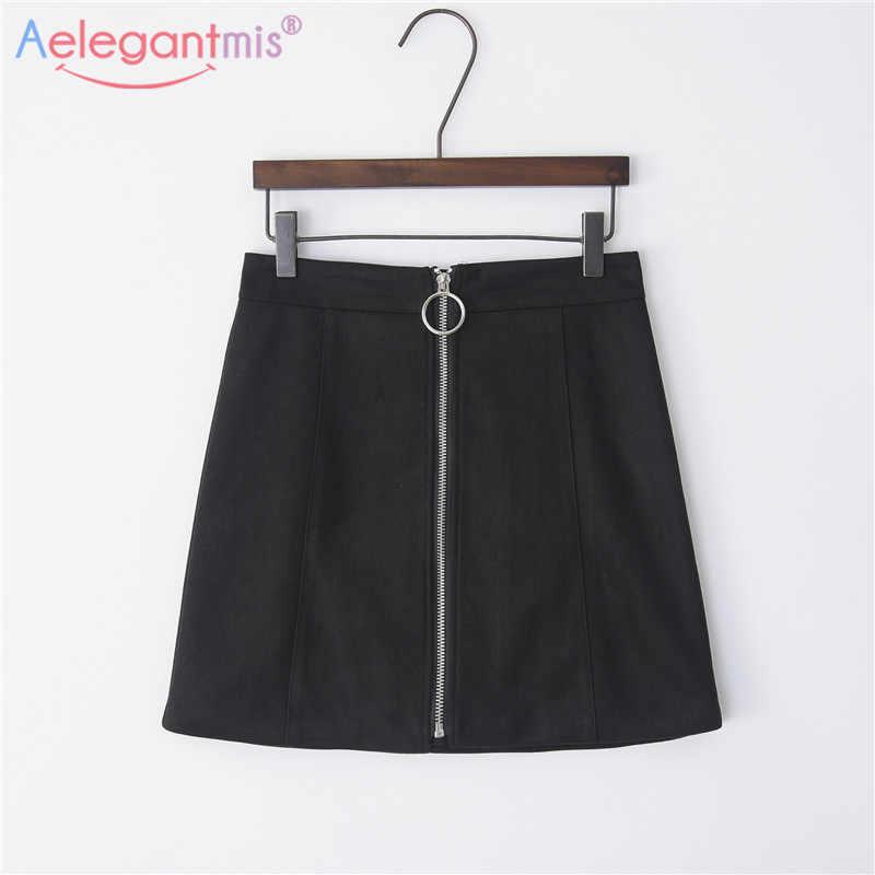 Aelegantmis letnia nowa zamszowa tkanina Plus rozmiar wysokiej talii kobiet Mini spódniczka damska elegancka w stylu casual, czarny zamek A-line krótkie spódniczki