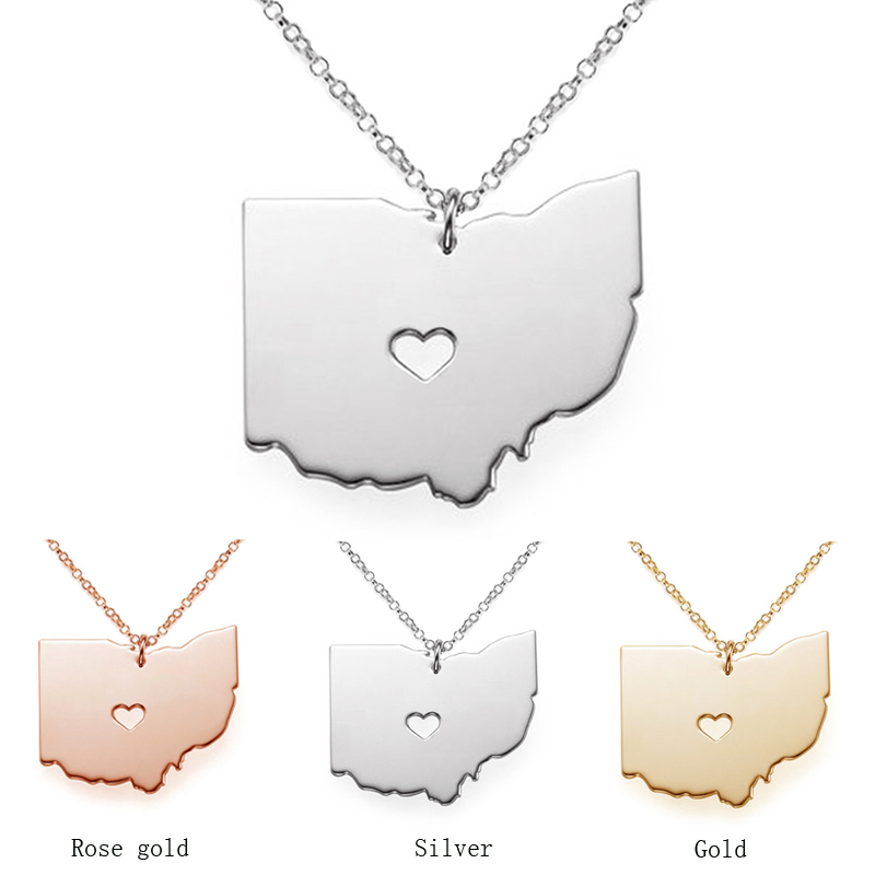 The Ohio state map necklace Stainless Steel pendants S925 Silver map Pendant Necklaces bijouterie accessories jewelry CN13