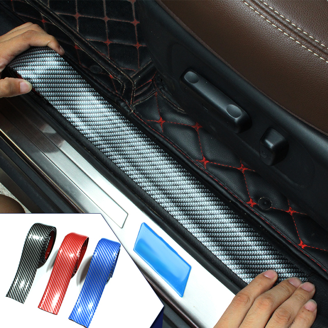 4D Carbon Fiber Rubber Styling Car Stickers Door Sill Protector Goods For KIA Toyota BMW Audi Mazda Ford Hyundai etc Accessories