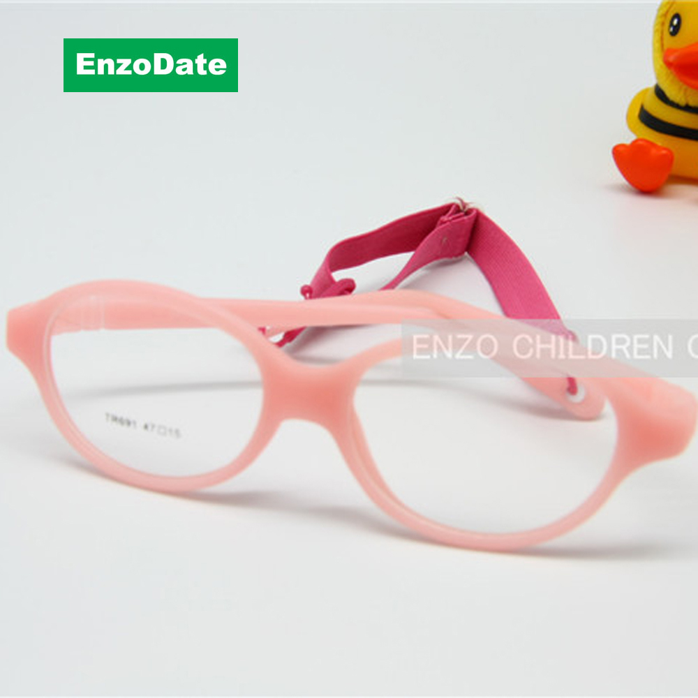 One-piece Kids Glasses No Screw with Plano Lenses Size 47mm, Bendable Boy's Glasses & Strap, Durable Safe Children Glasses Frame