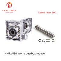 Relação de velocidade 60: 1 RV30 NMRV030 Worm Gearbox Redutor de Velocidade Worm Redutor de Engrenagem para NEMA23 Sevor Motor/Stepper NMRV030 60 Caixas de câmbio     -