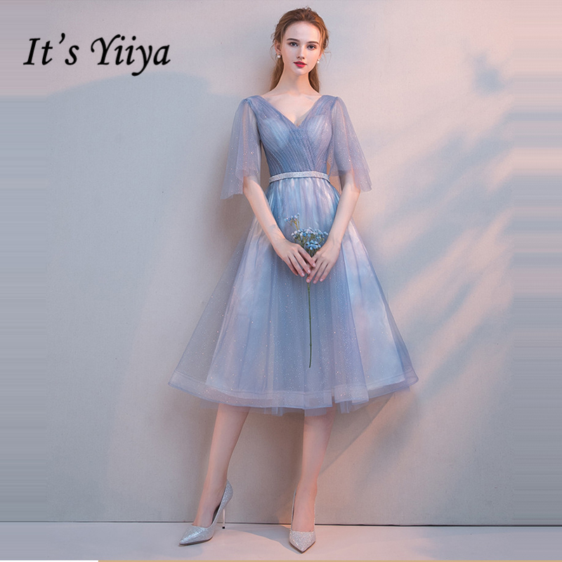 It's Yiiya   Prom     Dresses   Girls V-Neck Half Sleeve   Prom   Gowns Bling Sequined Elegant Party   Dresses   Formal   Dresses   LX1041