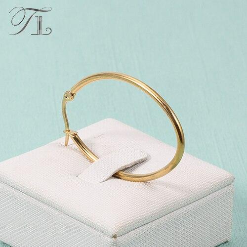 TL Acero inoxidable diseño de moda pendientes con incrustaciones de oro pendientes grandes diarias de novia pendientes para las mujeres niñas