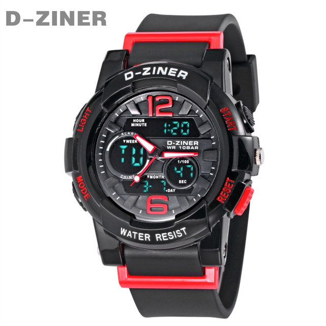 D-ZINER Brand Children Watches Quartz Cute Kids LED Digital Watch for Girls boys Rubber Children's Sport Watch Relogio Masculino