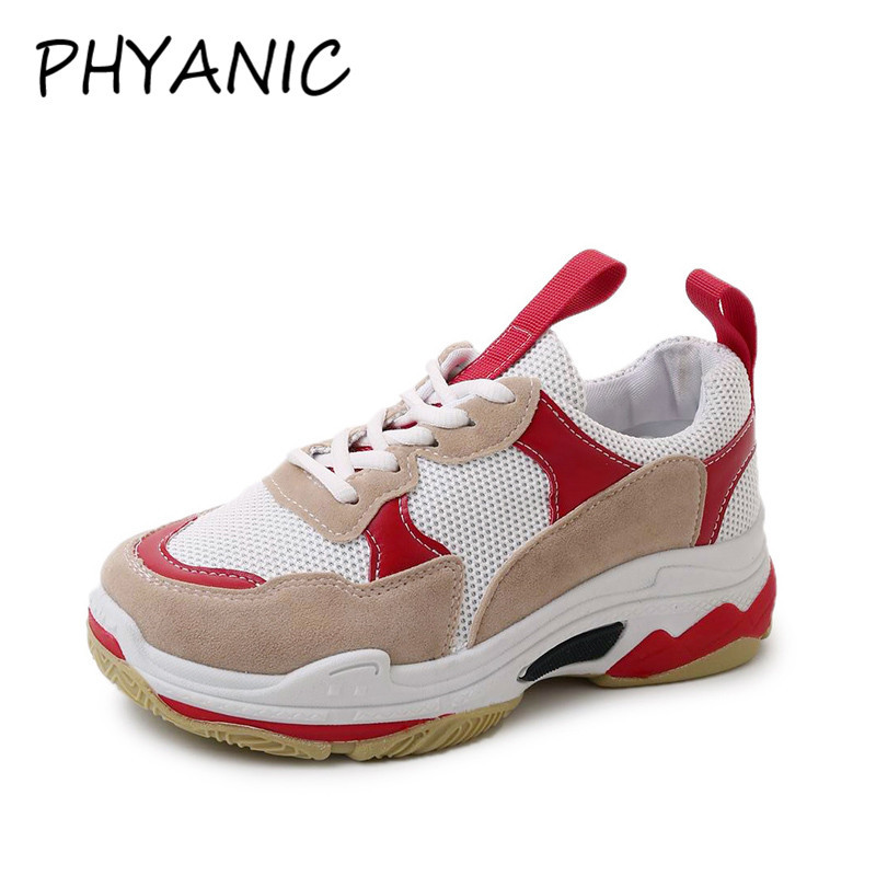 PHYANIC Spring Women Sneakers Air Mesh Shoes For Women Fashion Lace-up Flat Platform Shoes Mixed Colors Casual Shoes PHY3195