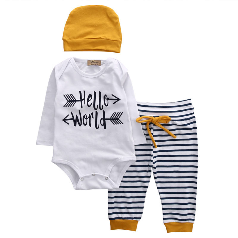 Newly 3pcs Newborn Toddler Baby Clothes Long Sleeve Romper Tops+Striped Pants Leggings+Beanie Outfits Set Size 0-18M