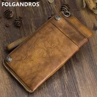 FOLGANDROS Handmade Long Wallet Natural Genuine Leather Vintage Wristlet Clutch Wallet Phone Passcard Phonto Organizer Bag Purse