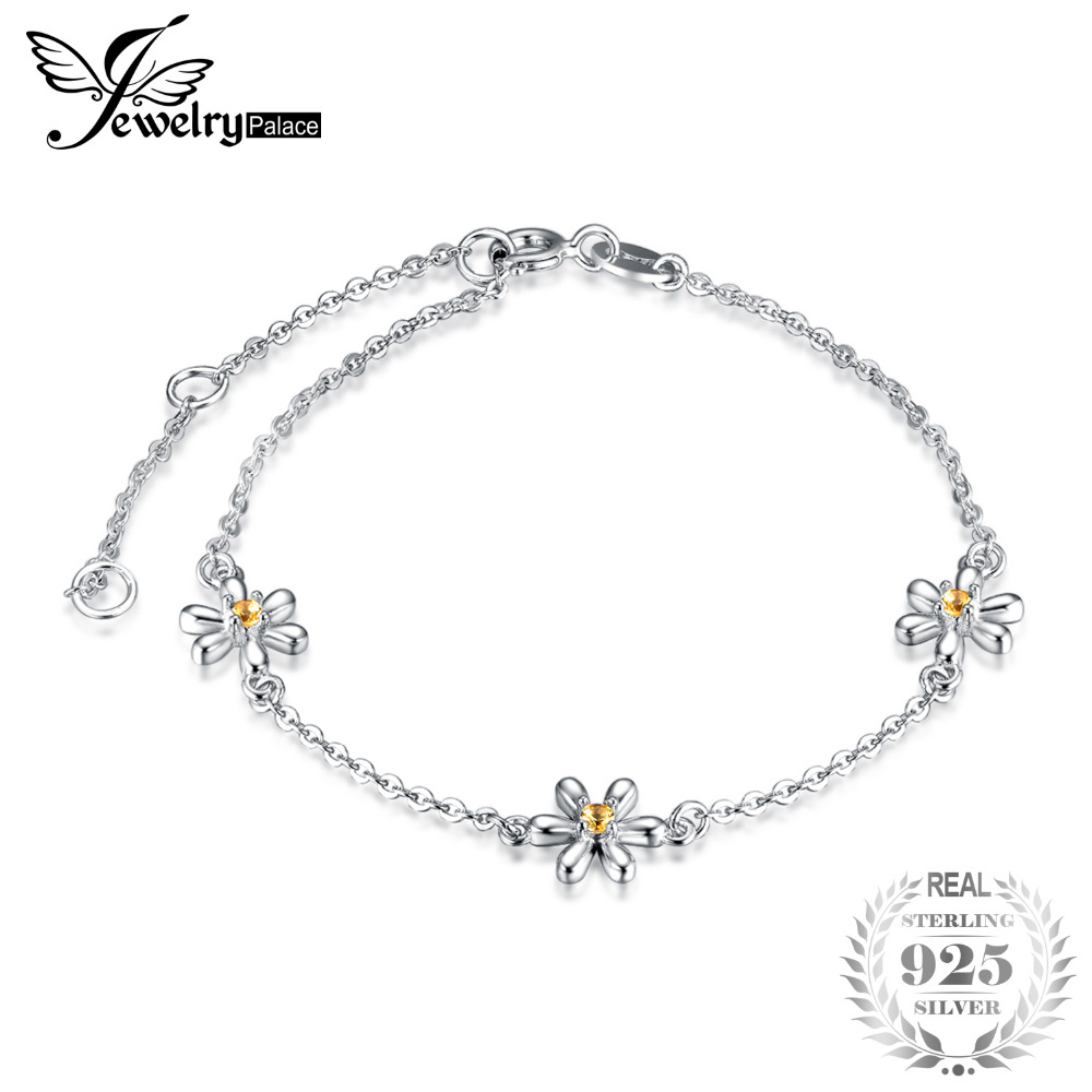 women flower real gift sapphires item created silver anklet trendy jewelrypalace ankle chain bracelet in link orange sterling from bracelets