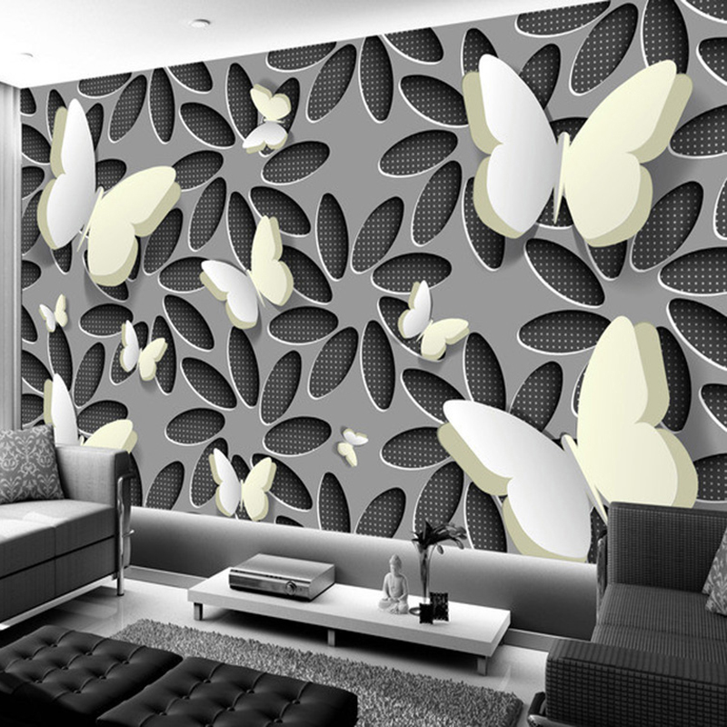 Custom Wall Mural Wallpaper Modern Minimalist Fashion 3D Stereoscopic Flower Butterfly Living Room TV Background Wall Painting