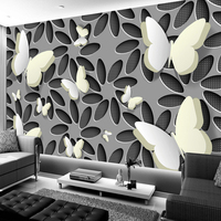 Custom Wall Mural Wallpaper Modern Minimalist Fashion 3D Stereoscopic Flower Butterfly Living Room TV Background Wall