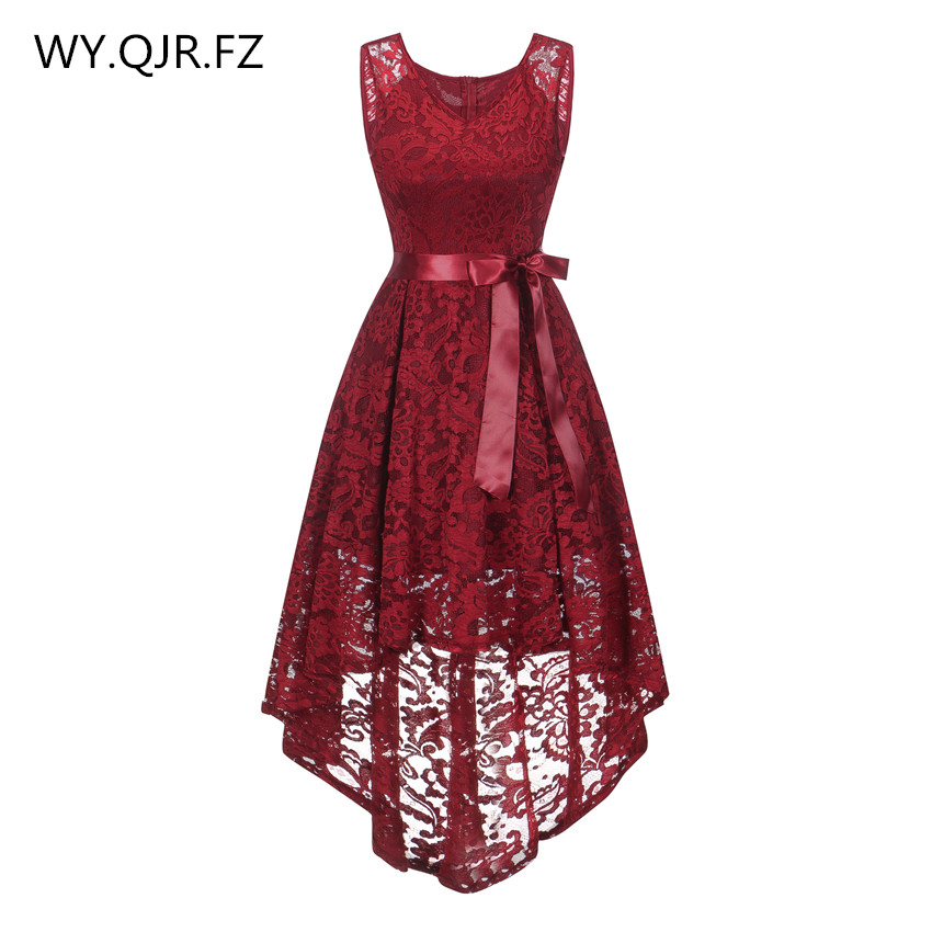 OML529#front Short Long Back Wine Red Bow Vest Bridesmaid Dresses Wedding Party Dress Prom Gown Wholesale Cheap Fashion Clothing