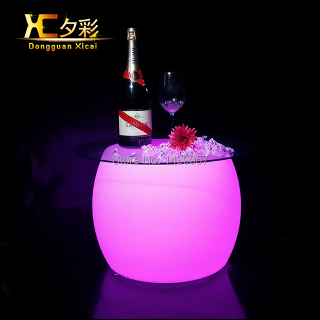 LED Bar Coffee Table Color Changeable Furniture Round Drinking Tea ...