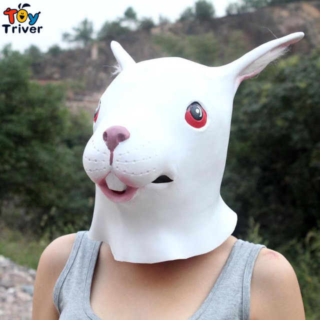 Latex Long-ear Rabbit Mask for Christmas Halloween Masquerade Parties Costume shoot clothing shop deco free shipping