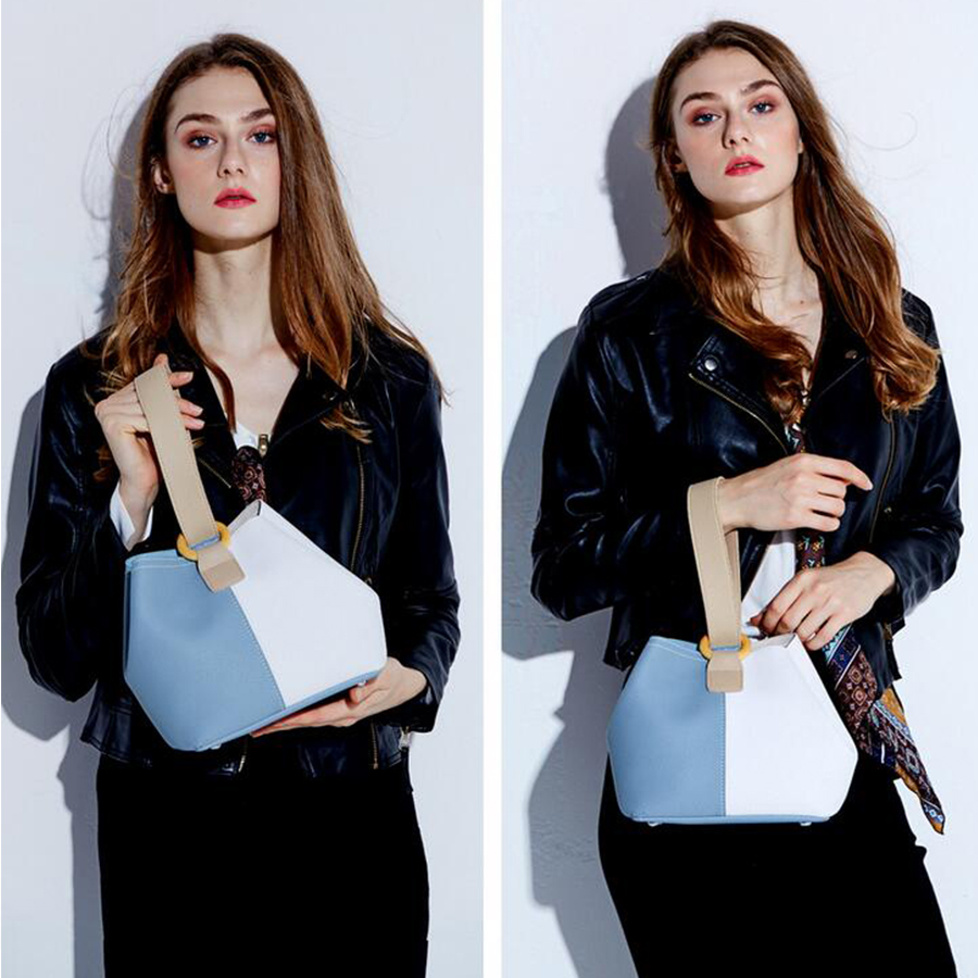 DUSUN Women Genuine Leather Bucket Bag Fashion Handbag Cow Leather Shoulder Bags Panelled Simple Messenger Bag Female Leisure