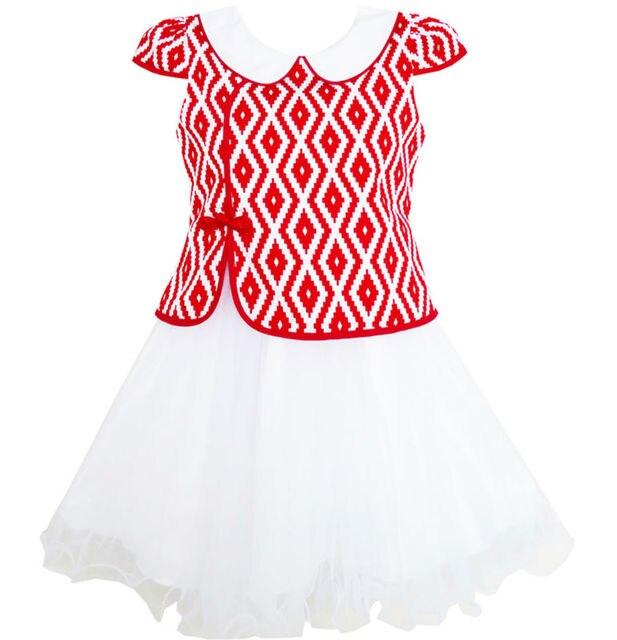 7c3e00a0c 2-en-1 Niñas Vestido A Cuadros de Color Rojo de estilo Chino Cheongsam