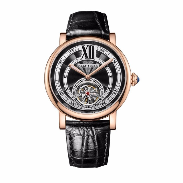Reef Tiger/RT Luxury Casual Watches for Men Rose Gold Genuine Leather Strap Tourbillon Automatic Watches RGA192