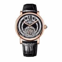 Riff Tiger/RT Luxus Casual Uhren für Männer Rose Gold Lederarmband Tourbillon Automatische Uhren RGA192