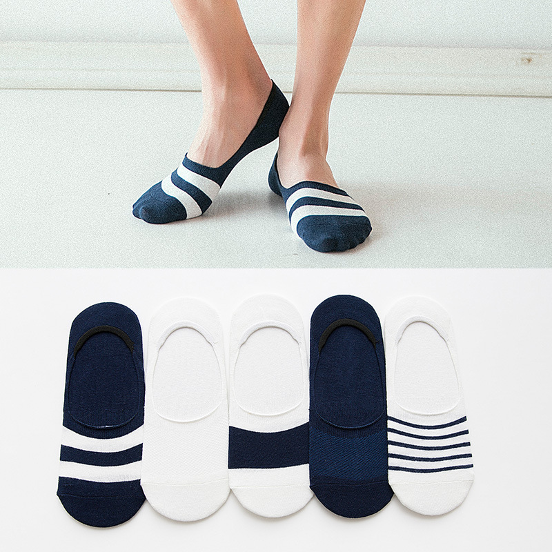 5 Pairs/Lot Men Invisible Socks New Non-slip Silicone Striped Boat Compression Socks Male Ankle Sock Men Meias Cotton Socks