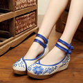 Plus Size Blue Women Casual Shoes Chinese Traditional Shoes for Womens Wedges Shoes Print Round Toe X931 35