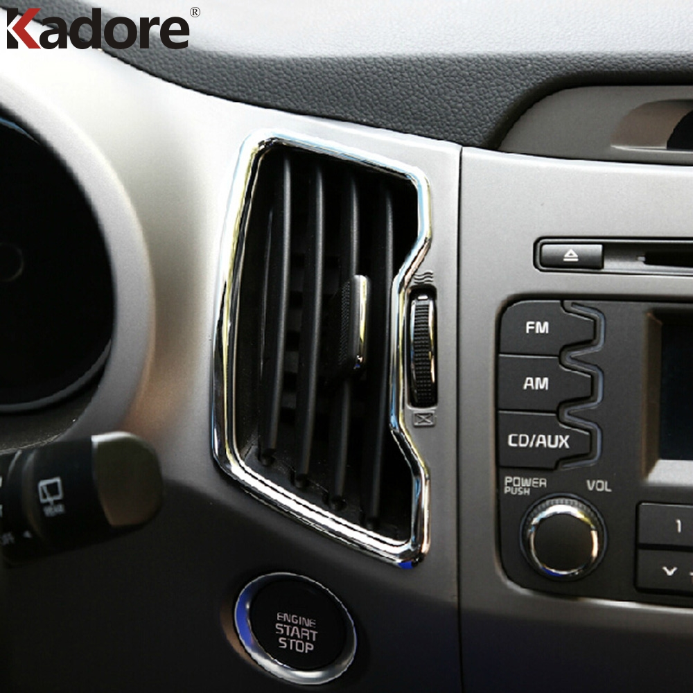 Car Accessories For Kia Sportage 2011 2012 2013 2014 2015 Chrome Center Console Air Conditional Vent Cover AC Outlet Trim 6PCS
