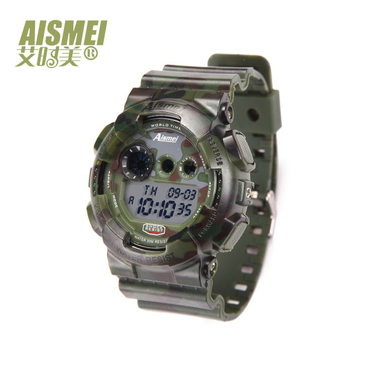 Men Watches Aismei 8807 Luxury Brand camouflage Clock Digital LED Watch Army Military Sport Watch relogio masculino smael 1708b