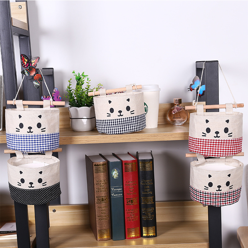 1db Dots Plaids macska minta ajtó fal pamut ágynemű lógó - Szervezés és tárolás