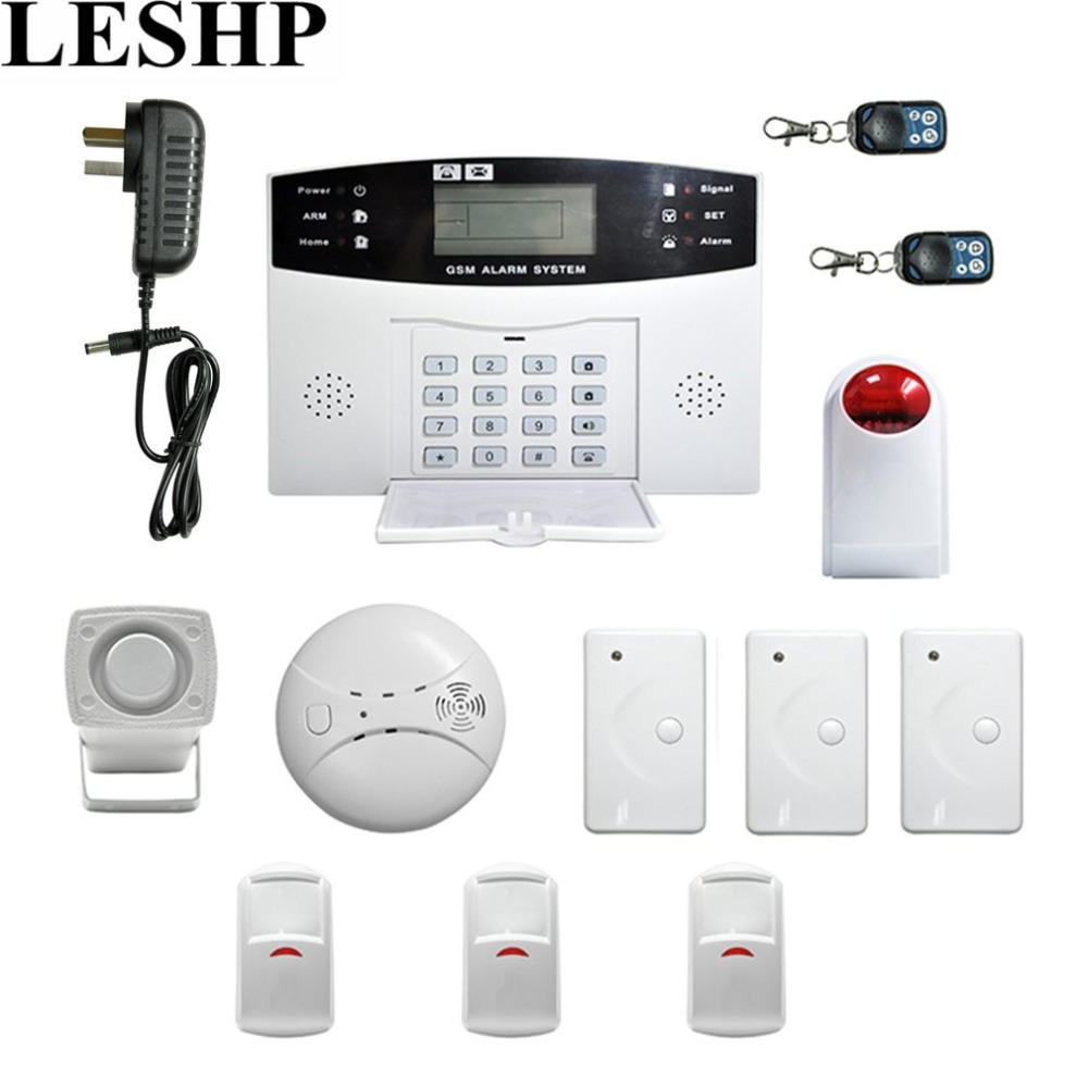 LESHP Wireless GSM Autodial Security System LCD Display Easy Installation Burglar Intruder Alarm Apparatus For Home House Office ya 500 gsm 24 lcd home house office security burglar alarm system